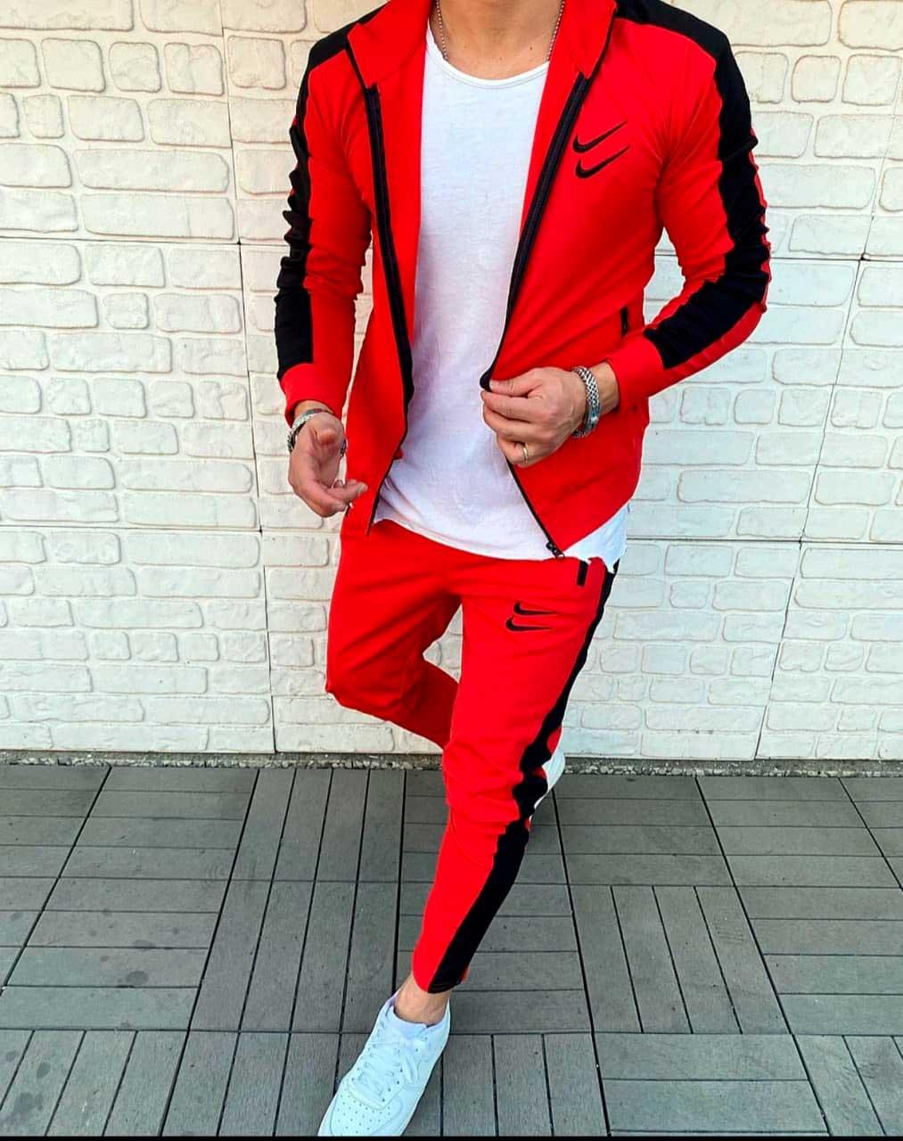 спортивный костюм красный swoosh